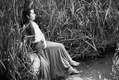 (Anton Pysanka) Tags: portrait bw woman mamiya film nature water monochrome female river reeds blackwhite pretty young ilford fp4 fp4plus 645afd 8028