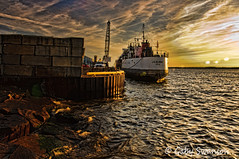 Erie Harbor (Gaby Swanson, Photographer) Tags: sunset lake seascape photography harbor colorful ship lakeerie seascapes pennsylvania erie eriepa colorfulsunset erieharbor