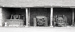 Retired after a hard life (robmcrorie) Tags: leica white tractor black classic film monochrome barn 35mm vintage farm plus m2 ilford fp4 warwickshire