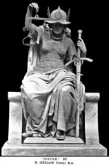 Edward Onslow Ford (1852-1901) - Justice (c.1898) (ketrin1407) Tags: blackandwhite sculpture scale monochrome statue blackbackground justice helmet victorian sword marble allegory sandal throne chainmail symbolism onslowford
