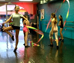 Blurry, Surreal, Exciting & Fun Choreography! Avery, Kiri, Mina, and Molly Working On A Ribbon Dance (Chic Bee) Tags: party holiday halloween fun happy dancers choreography youngdancers ribbondance
