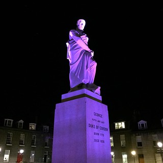 The Duke of Gordon Statue in Golden Square. #duke #Gordon #statue #aberdeen #scotland #granite #square #illumination #illuminate #illuminated #man purple #sky #night #Victorian