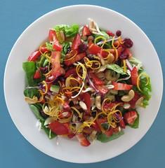 Summer salad (KiwiGirlSteph) Tags: summer tomato lemon healthy herbs cucumber nuts strawberries almonds cabbage zesty paleo cashews zest tangy craisin