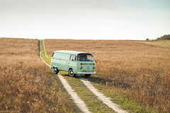 VW T2 (Andrey Baydak) Tags: green classic field grass vw volkswagen countryside dof path hill 85mm automotive retro trail oldtimer van 1970s minivan 1973 transporter whitewall t2 panelvan aircooled type2 зеленый трава дорожка поле typ2 холм