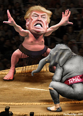 Yokozuna Trump vs. The RNC (DonkeyHotey) Tags: art face illustration photomanipulation photoshop photo wrestling political politics cartoon manipulation caricature politician sumo thedonald donaldtrump sr karikatur rnc caricatura apprentice commentary politicalart makuuchi karikatuur politicalcommentary donaldjohntrump donkeyhotey