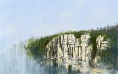 Reflets des calcaires de la Beaume (Isaszas) Tags: souvenirs cliffs reflexions reflets felsen artcomputer labeaume soirdt falaisescalcaires palettegraphique sudardche isasza
