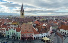 Sibiu, old town (Betino Miclea) Tags: street old city november blue autumn sky tower church saint skyline architecture clouds square town nikon cathedral mary roofs tiles romania 1750 council lutheran ro tamron sibiu hermannstadt evangelische stadtpfarrkirche smallsquare piatamica d7100 turnulsfatului județulsibiu towerofthecouncil
