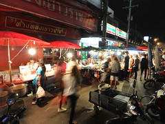 Parasols of food stall (kawabek) Tags: thailand stall motorcycle chiangmai 傘 タイ バイク パラソル เชียงใหม่ ประเทศไทย チェンマイ 露店 ร่ม parsol รถจักรยานยนต์ แผง