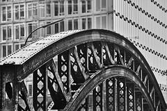 Hamburg Speicherstadt 16 b&w (rainerneumann831) Tags: hamburg ericusspitze architektur abstrakt monochrom brcke industrie eisen linien