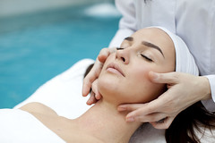 Woman receiving spa treatment (m.patskaliova@gmail.com) Tags: cosmetologist skincare facial shoulders balls hands cosmetician medical head 2025 towel acne cosmetic beautician treatment people petals caucasian female portrait eyes women therapy lying moisturizing healthy specialist girl care cotton face person beauty procedure skin closed draining rejuvenation massage beautiful health spa tranquil pampering cosmetology cleansing cleaning ukraine