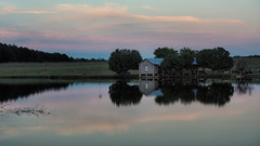 The Condo at Sunset (TuthFaree - on vacation) Tags: elements sunset rural pond reflection cottage house wood country antique nature water farm cotton