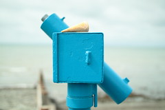 cone (distortoid) Tags: wales uk telescope cone icecream melting canon distortoid blue sea eos500d sigma30mmf14