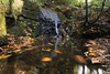 Waterfall in Miniature (Ben Lockett) Tags: walk small green wideangle landscape outdoor countryside staffs knyperselypool movement longexposure still incline gorge slope 1740l 5d canon reflections plunge pool acorns rocks log branch stick forest holinwood woodland trees colours autumn leaves moss rockface rock cascade water river burn brook stream miniature waterfall