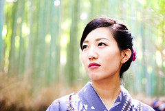 Saki (Stranger 121) Arashiyama, Kyoto, Japan (barbasboth) Tags: japanese japan kimono bamboo arashiyama kyoto traditional woman portrait streetphotography streetportrait 100strangers sagano travel fujifilm fuji xt10