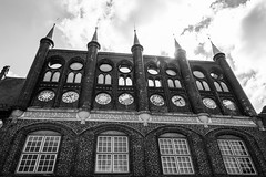 Lübeck - Rathaus (superbart77) Tags: architecture blackandwhite city clouds lübeck rathaus townhall cityhall historiccitycenter oldtown