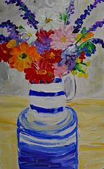 Striped Pitcher on Garden Stool With Flowers (BKHagar *Kim*) Tags: bkhagar painting paint acrylic art artwork floral flowers pitcher blue white stripes impressionist gardendrum stool