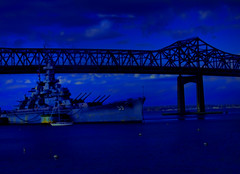 Out Of The Blue (raymondclarkeimages) Tags: rci raymondclarkeimages usa canon 8one8studios outdoor 70200mm 6d 59 battleship river water blue fighter bridge sky turrets warship navy naval ussmassachusetts bb59 bigmamie battleshipcove