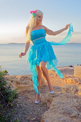 Sunset in Vouliagmeni, Attica (DZ-fotografia) Tags: sunset vouliagmeni attica greece lady blonde sexy dress heels legs long hair sea mediterranean turquoise