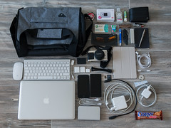 never thought this amount of equipment and accessories could be carried in my bag. (sulo~) Tags: bagquicksilver mifi macbookpro2009 magsafe ipadmini4 iphone7 lenovovibe olympuspen panasonic20mmf17pancake magicmouse magickeyboard tripod oakley moleskine ajaysfourplus firewirewdhdd corny powerbank trackrbravo sparebattery memorycards reader powercords adapters parkerpen screwdriver knife gums smokingpapers lighter matches