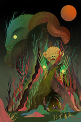 Pan's Labyrinth - Labyrinths & Monsters Art Show (scott balmer) Tags: exhibition artshow creaturefeatures movie film panslabyrinth 10thanniversary faun tree frog monster forest graphic texture