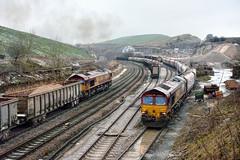 Triple Whammy (whosoever2) Tags: class66 66027 6h52 66172 66067 peakforest cemex buxton derbyshire train railway railroad freight nikon d7100 january 2016 england unitedkingdom uk gb greatbritain