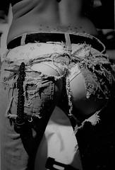 On A Warm Spring Day (Shot by Newman) Tags: tornjeans leatherjackinpocket panties tattoos southwestus shotbynewman 35mm ilforddelta400bw bikinibikewash bulletpolish bikeweek laughlinriverrun laughlinnevada 35mmminolta ilfordbwfilm