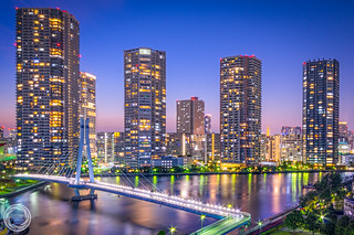 Living Lights of Tokyo Waterfront in Twilight