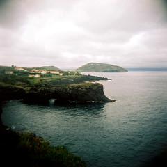 (kubakozal) Tags: holga kodak portra 120 6x6 medium format square azores landscape ocean volcano island shore cliffs rocks blue