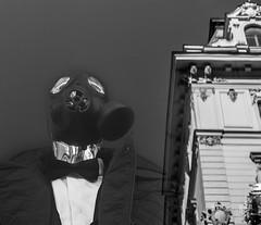 Besuch (werk-2at) Tags: wien city blackandwhite art strange canon österreich artwork mask schaufenster imagination monochrom visitors alessandra spiegelung besucher puppen maske werk2 seitz artpic spookie gasmaske avalaiblelight