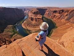 Horseshoe Bend - Colorado River Canyon (Lumatic) Tags: arizona woman usa nature river colorado desert bend outdoor hiking canyon adventure page outlook horseshoe