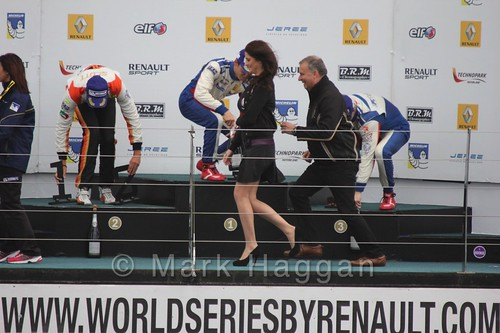 The champagne fight during podium Celebrations for Saturday's Formula Renault 2.0 Race 1 at Silverstone in WSR 2015