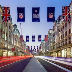 Red White & Blue ([J Z A] Photography) Tags: street longexposure london film analog mediumformat twilight dusk nfl le mf lighttrails mamiya6 regent ndfilter 3stop kodakektar nikoncoolscan9000 tetenalc41 ls9000 mamiyag50mm jzaphotography