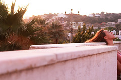 Terrace Lover (merveunlu93) Tags: light sunset portrait sky people sun blur girl vintage hair palms all dof terrace expression smooth about moment depth