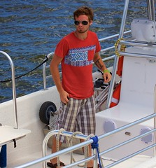 Sailor in flip-flops (LarryJay99 ) Tags: hairy man male men guy water face sunglasses pits neck goatee glasses boat arms legs florida guys westpalmbeach dude flipflops facialhair ropes mustache dudes knots hairylegs stud scruff hairyman canonefs60mmf28macrousm canon60d lakeworthlagoon currypark braghettoni ilobsterit
