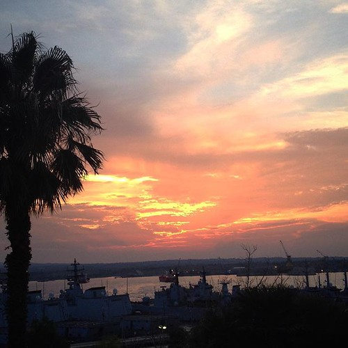 #sunset #summer #sky #sea #harbor #augusta