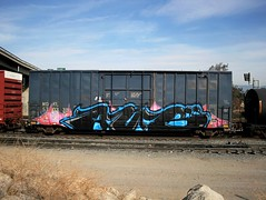AUB (EricBMW) Tags: railroad train graffiti trains rails unionpacific boxcar freight bnsf aub boxcars freights railart burlingtonnorthernrailway