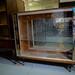 Retro worn laminate china cabinet