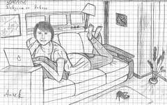 Girl on the couch. October 30, 2015 (rk) Tags: apple girl smile notebook nice mac pretty drawing couch jeans sofa barefoot 2015 macbook