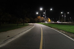 What Lies Ahead (Flint Foto Factory) Tags: chicago illinois urban city autumn fall november 2016 north edgewater sheridan lakeshoredrive lsd hollywood bike trail sooc straightoutof camera dark darkness whatliesahead ahead forward traffic light night nocturnal evening kathy osterman beach