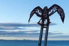 Iron Eagle (realzealman) Tags: blue sky sculpture beach water skyline iron waves eagle sony australia queensland surfersparadise coolangatta goldcoast kirra a6000