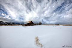 White Tie (RH Miller) Tags: usa white snow clouds landscape jackson wyoming mormonrow reedmiller moultonbarn rhmiller