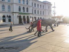 Jernbanetorget (mittalbum) Tags: autumn oslo children square women tiger jernbanetorget stbanen tigersculpture canonpowershots90