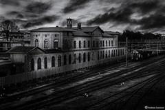 Landskrona train station (AndreasNikon) Tags: city sky blackandwhite bw train cityscape sweden ngc himmel nikkor nocrop tåg landskrona nohdr nikond600 skanecounty