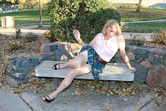 new108543-IMG_8891t (Misscherieamor) Tags: park tv sitting transformation feminine cd femme tgirl transgender mature sissy tranny transvestite parkbench miniskirt crossdress ts gurl tg travestis garters travesti travestido travestie m2f stockingtops xdresser tgurl traviesa travestito slipshowing silkblouse travestit bowblouse