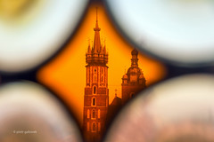 Through the stained glass (pietkagab (on the road)) Tags: trip travel colour tourism church window photography europe view pentax towers sightseeing poland polska krakow stainedglass indoors cracow k5 okno stmarysbasilica witraz pentaxk5ii pietkagab piotrgaborek