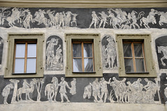 Wall paintings Prague (Pikaluk) Tags: white grey prague czechrepublic fresco wallpaintings paintedbuildings oldsquare 2015