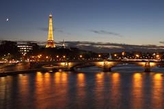 Moon - Eiffel - River (lgh75) Tags: theparisphotographymeetupgroup paris sunset couchdesoleil bridge pontalexandreiii pont twilight toureiffel seine reflet