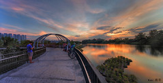Jewel Bridge sunset (Ken Goh thanks for 2 Million views) Tags: jewel bridge sunset golden sun blue sky reflection water moving clouds smooth silhouette pentax k1 sigma 1020