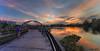 Jewel Bridge sunset (Ken Goh thanks for 2 Million views) Tags: jewel bridge sunset golden sun blue sky reflection water moving clouds smooth silhouette pentax k1 sigma 1020