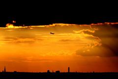dark future (Wackelaugen) Tags: canon eos photo photography wackelaugen googlies plane sunset orange silhouette berlin germany europe sky skylline